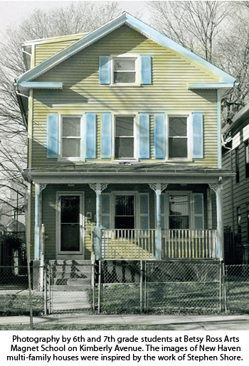 Photograph of a multi family home. Photography by 6th and 7th grade students at Betsy Ross Arts Magnet School on Kimbery Avenue. The images of multi-family houses were inspired by the work of Stephen Shore.